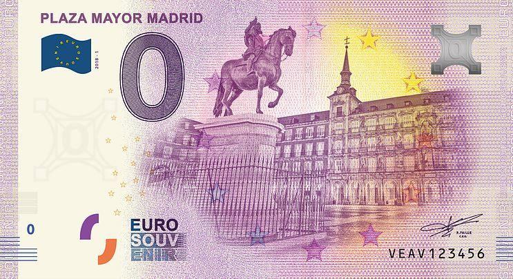 Испания банкнота 0 евро - площадь Пласа-Майор в Мадриде