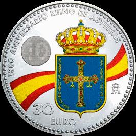 Испания монета 30 евро 1300 лет Королевству Астурия, реверс
