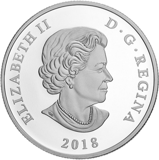 Канада монета 20 долларов Национальные символы - гимн и флаг, аверс