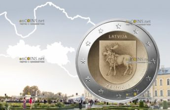 Латвия монета 2 евро Земгале