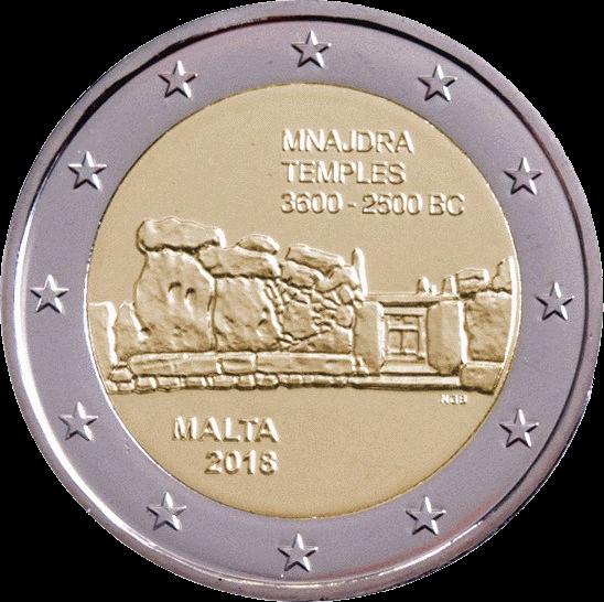 Мальта монета 2 евро храмы Мнайдра, реверс