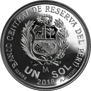 Перу серебряная монета 1 соль, 2018 год, аверс