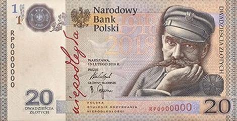 Польша банкнота 20 злотых 100 лет независимости Польши, лицевая сторона