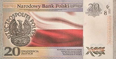 Польша банкнота 20 злотых 100 лет независимости Польши, оборотная сторона