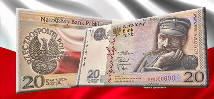 Польша банкнота 20 злотых 100 лет независимости Польши