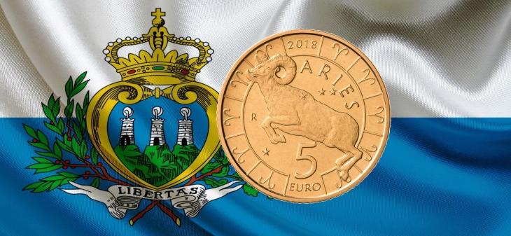 Сан-Марино монета 5 евро Овен