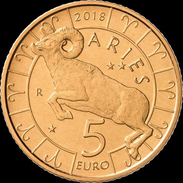 Сан-Марино монета 5 евро Овен, реверс