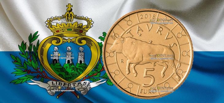 Сан-Марино монета 5 евро Телец, реверс