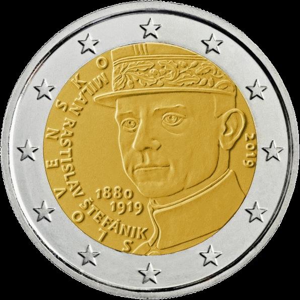 Словакия монета 2 евро Милан Растислав Штефаник, реверс