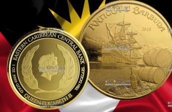 Антигуа и Барбуды монета 10 долларов Пиратский корабль