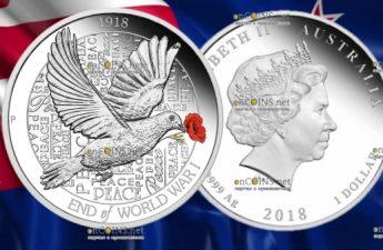 Австралия монета 1 доллар 100 лет окончания Первой мировой войны