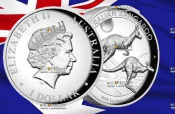 Австралия монета 1 доллар Кенгуру на закате