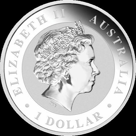Австралия монета 1 доллар Кенгуру на закате с секторальным золочением, аверс