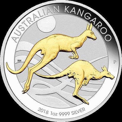 Австралия монета 1 доллар Кенгуру на закате с секторальным золочением, реверс