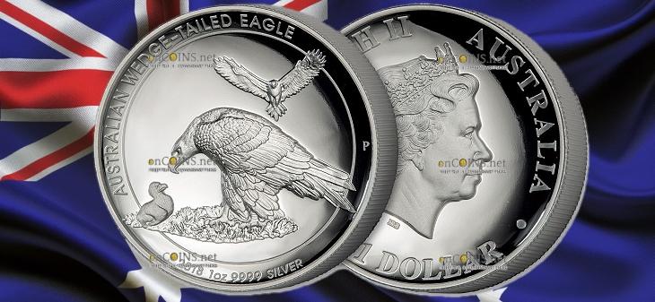 Австралия монета 1 доллар Клинохвостый орел