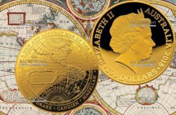 Австралия монета 100 долларов Карта Западного полушария