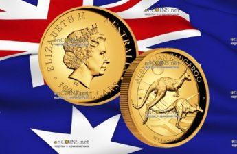 Австралия монета 100 долларов Кенгуру на закате