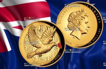 Австралия монета 200 долларов 100 лет окончания Первой мировой войны
