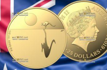 Австралия монета 25 долларов Кенгуру на закате