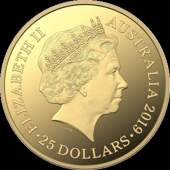 Австралия монета 25 долларов Кенгуру на закате, аверс