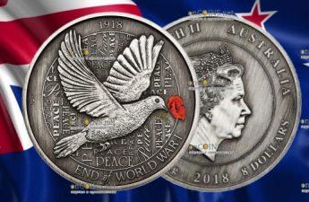 Австралия монета 8 долларов 100 лет окончания Первой мировой войны