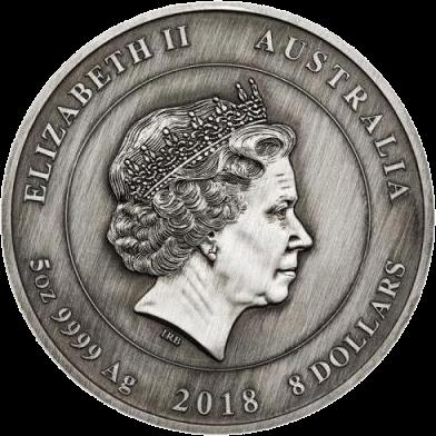 Австралия монета 8 долларов 100 лет окончания Первой мировой войны, аверс