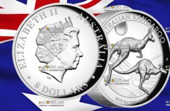 Австралия монета 8 долларов Кенгуру на закате