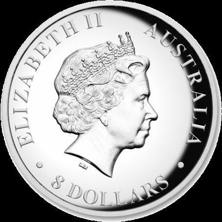 Австралия монета 8 долларов Кукаберра, аверс