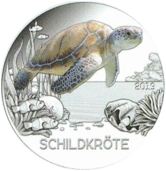 Австрии монета 3 евро Черепаха, реверс