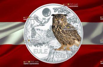 Австрии монета 3 евро Сова