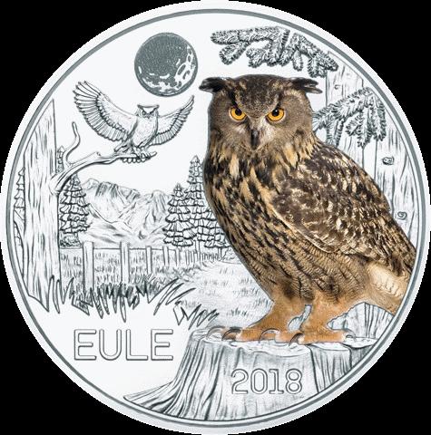 Австрии монета 3 евро Сова, реверс