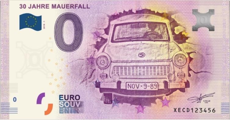Банкнота 0 евро Трабант пробивает Берлинскую стену, лицевая сторона