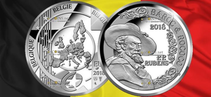 Бельгия монета 10 евро Барокко и рококо