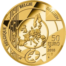 Бельгия монета 50 евро Барокко и рококо, аверс