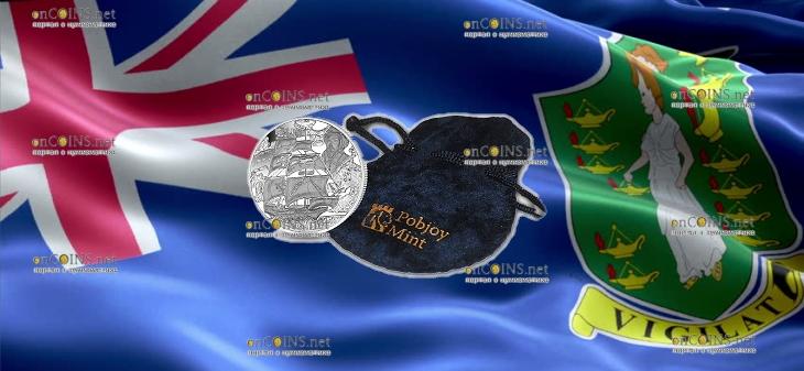 Британские Виргинские острова монета 1 доллар Уолтер Рейли, подарочная упаковка