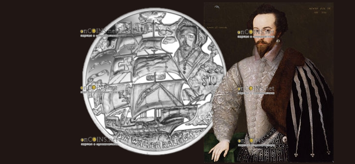 Британские Виргинские острова монета 10 долларов Уолтер Рейли
