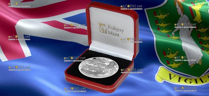 Британские Виргинские острова монета 10 долларов Уолтер Рейли, подарочная упаковка