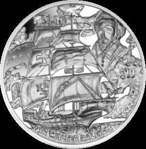 Британские Виргинские острова монета 10 долларов Уолтер Рейли, реверс