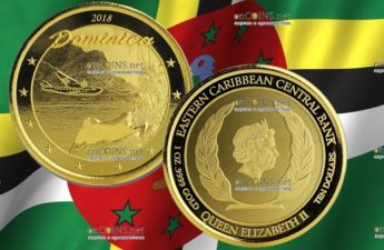 Доминика монета 10 долларов Остров природы