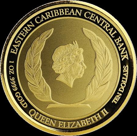 10 восточно-Карибских доллара, 2019, золото