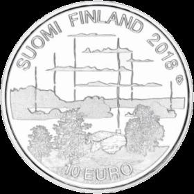 Финляндия монета 10 евро Культура финской сауны, реверс