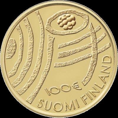 Финляндия монета 100 евро 100-летие Финляндии Голубая биоэкономика, аверс