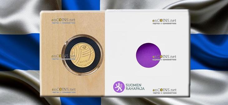 Финляндия монета 100 евро 100-летие Финляндии Голубая биоэкономика, подарочная упаковка