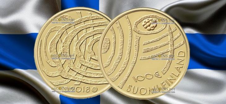 Финляндия монета 100 евро 100-летие Финляндии Голубая биоэкономика