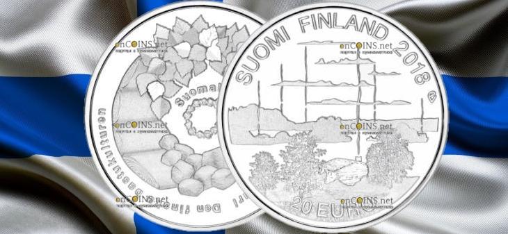 Финляндия монета 20 евро Культура финской сауны
