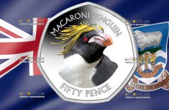 Фолклендские острова монета 50 пенсов пингвин Макарони
