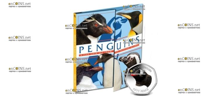 Фолклендские острова монета 50 пенсов пингвины 2018 год, подарочная упаковка