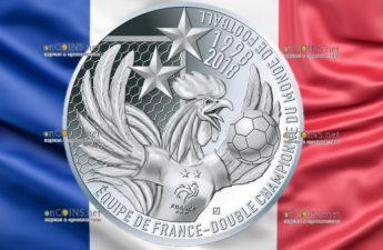 Франции монета 10 евро Франция двукратный чемпион мира по футболу