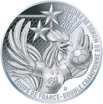 Франции монета 10 евро Франция двукратный чемпион мира по футболу, реверс