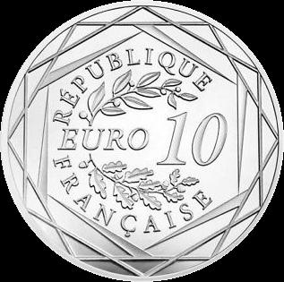 Франция монета 10 евро 2018, серебро, аверс